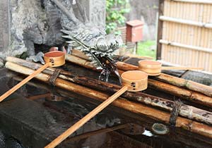 Cleanse your hands and mouth at Temizuya(purification trough)